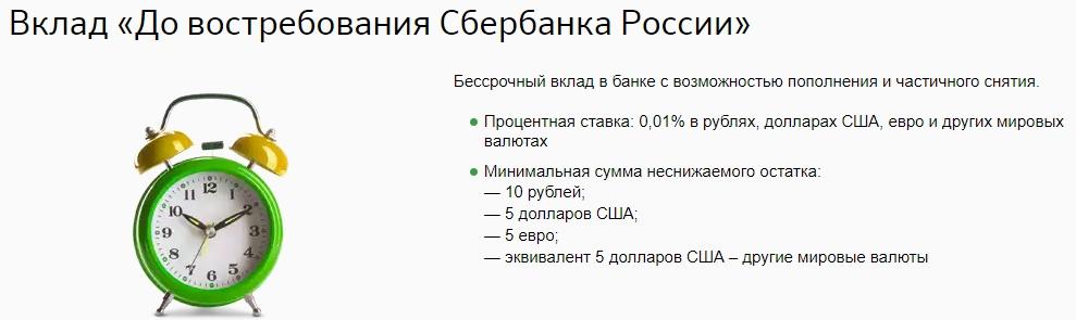 Оформление вклада до востребования в Сбербанке России