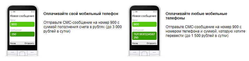 Пополнение до 3 000 рублей в сутки на свой телефон через Мобильный банк Сбербанка